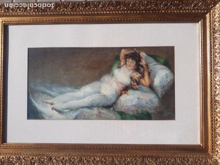 Arte: magnifica acuarela la maja vestida,copia de goya por eugenio oliva y rodrigo palencia 1852-1925 - Foto 2 - 219051200