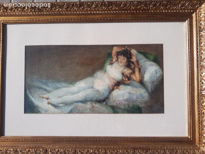 Arte: magnifica acuarela la maja vestida,copia de goya por eugenio oliva y rodrigo palencia 1852-1925 - Foto 6 - 219051200