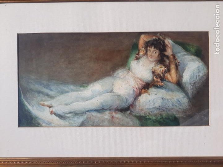 Arte: magnifica acuarela la maja vestida,copia de goya por eugenio oliva y rodrigo palencia 1852-1925 - Foto 7 - 219051200