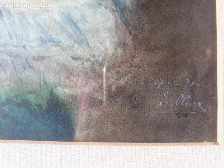 Arte: magnifica acuarela la maja vestida,copia de goya por eugenio oliva y rodrigo palencia 1852-1925 - Foto 8 - 219051200