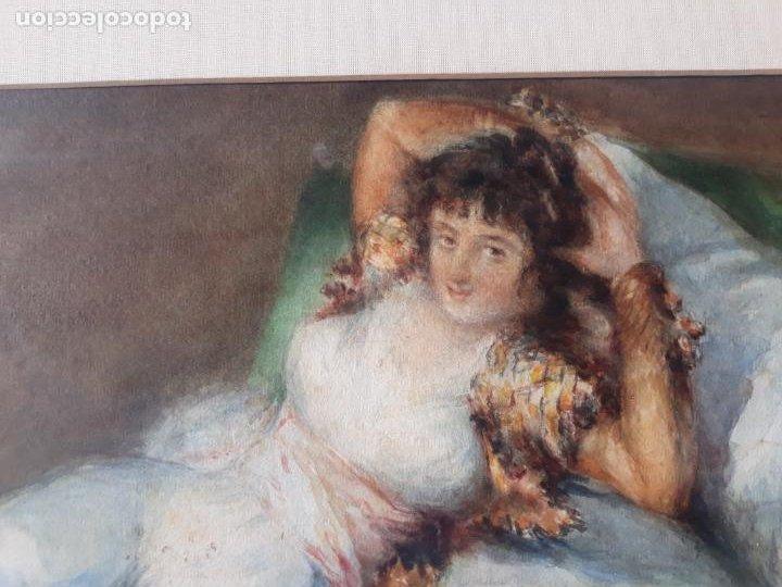 Arte: magnifica acuarela la maja vestida,copia de goya por eugenio oliva y rodrigo palencia 1852-1925 - Foto 9 - 219051200