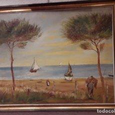 Arte: PINTURA PAISAJE ACUARELA AÑOS 60 SIN FIRMA MEDIDAS 102 X 82 CM BUENAS CONDICIONES. Lote 220248100