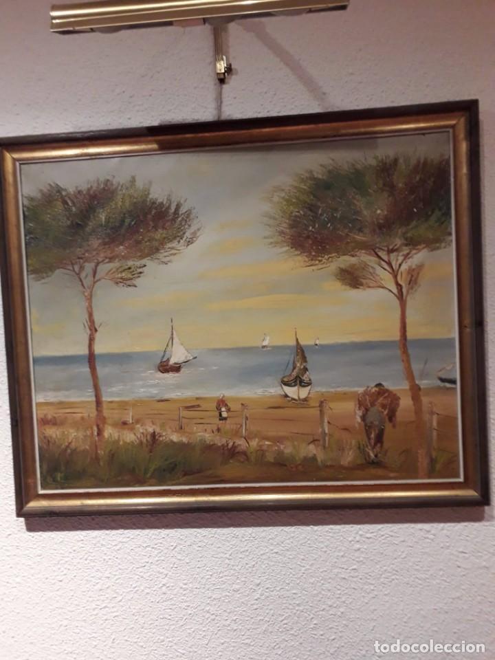 Arte: PINTURA PAISAJE ACUARELA AÑOS 60 SIN FIRMA MEDIDAS102 X 82 CM BUENAS CONDICIONES - Foto 2 - 220248100