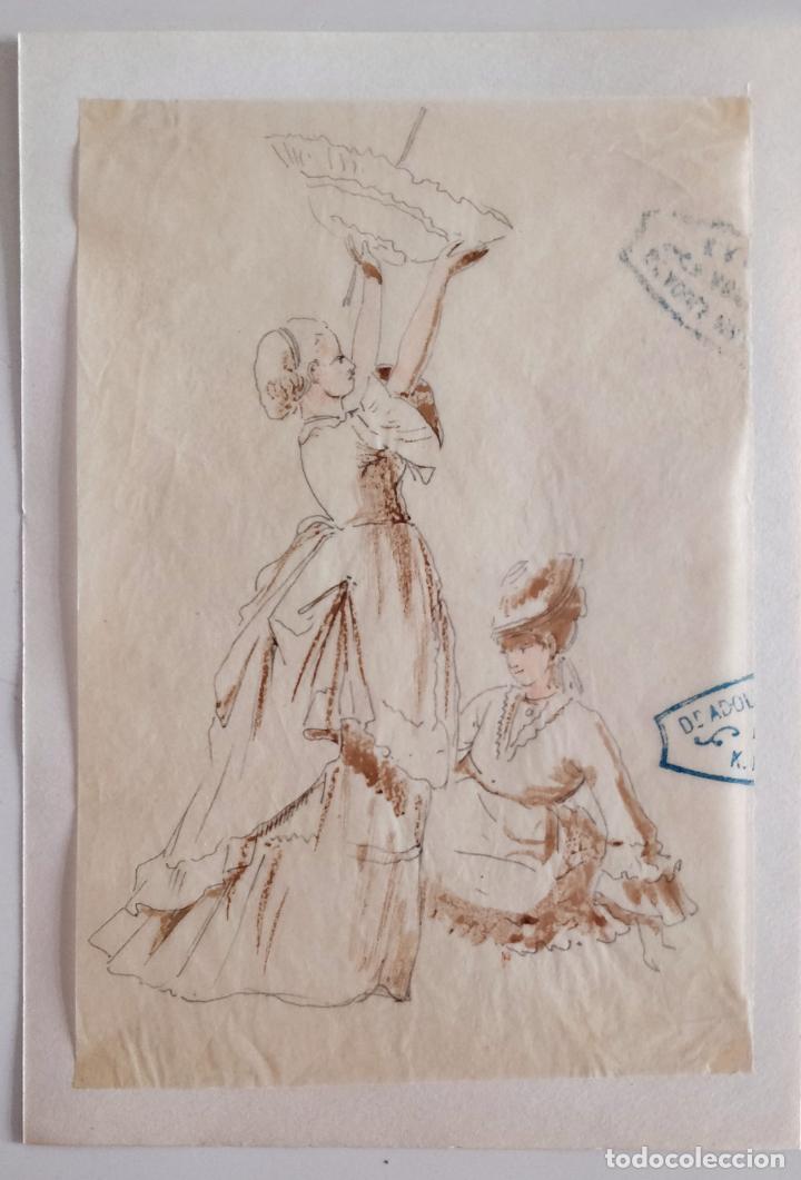 ACUARELA ORIGINAL SOBRE PAPEL GLASSINE DE ADOLF MARATSCHEK, CON SELLO DEL PINTOR, CIRCA1885 (Arte - Acuarelas - Modernas siglo XIX)