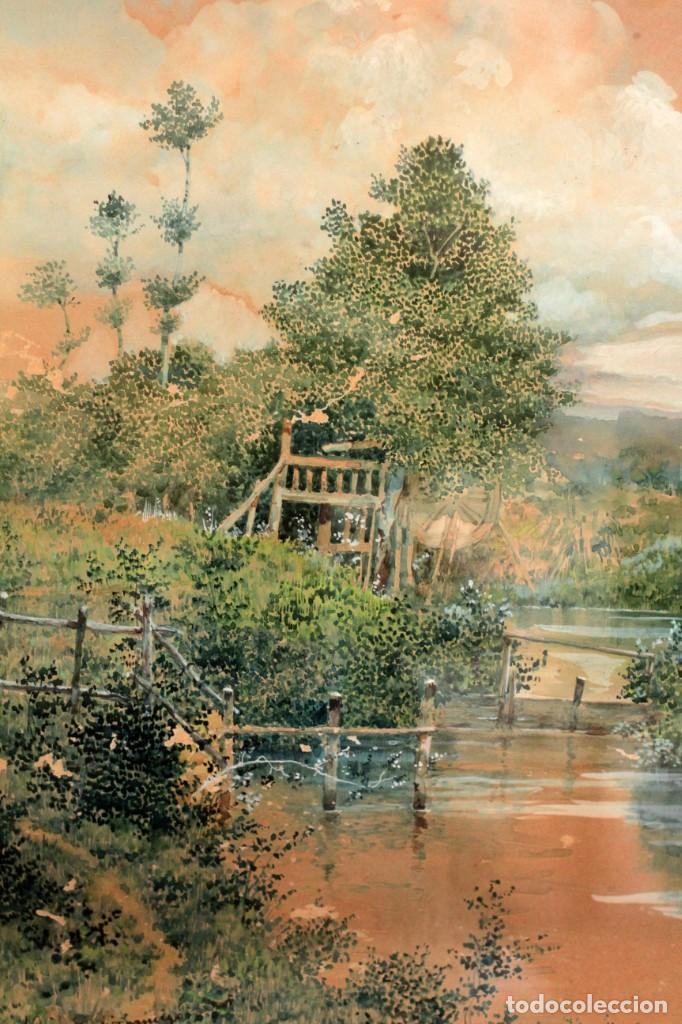 MANUEL OSUNA(S.XIX) , ACUARELA FIRMADA, FECHADA Y DEDICADA. PAISAJE. ENMARCADA 68X54CM PPOS S.XX (Arte - Acuarelas - Modernas siglo XIX)
