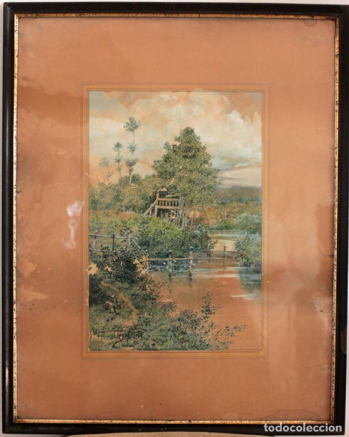 Arte: Manuel Osuna(S.XIX) , acuarela firmada, fechada y dedicada. Paisaje. Enmarcada 68x54cm Ppos s.XX - Foto 2 - 220663227