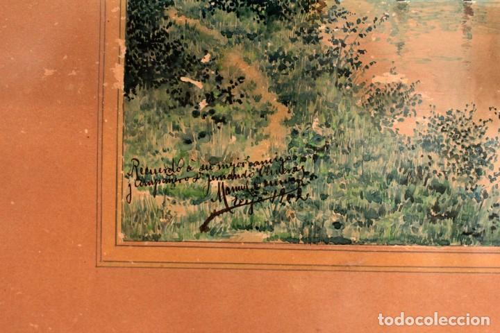 Arte: Manuel Osuna(S.XIX) , acuarela firmada, fechada y dedicada. Paisaje. Enmarcada 68x54cm Ppos s.XX - Foto 3 - 220663227
