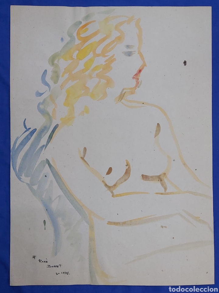 ROMÁ BONET GINÉS (SAN SEBASTIÁN 1944) ACUARELA DESNUDO FEMENINO (Arte - Acuarelas - Contemporáneas siglo XX)