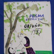 Arte: ENRIQUE ORTUÑO ARAEZ (ELCHE 1938 - ALELLA 2010) ACUARELA CARTEL GALERIA PRISMA 1982. Lote 220850140