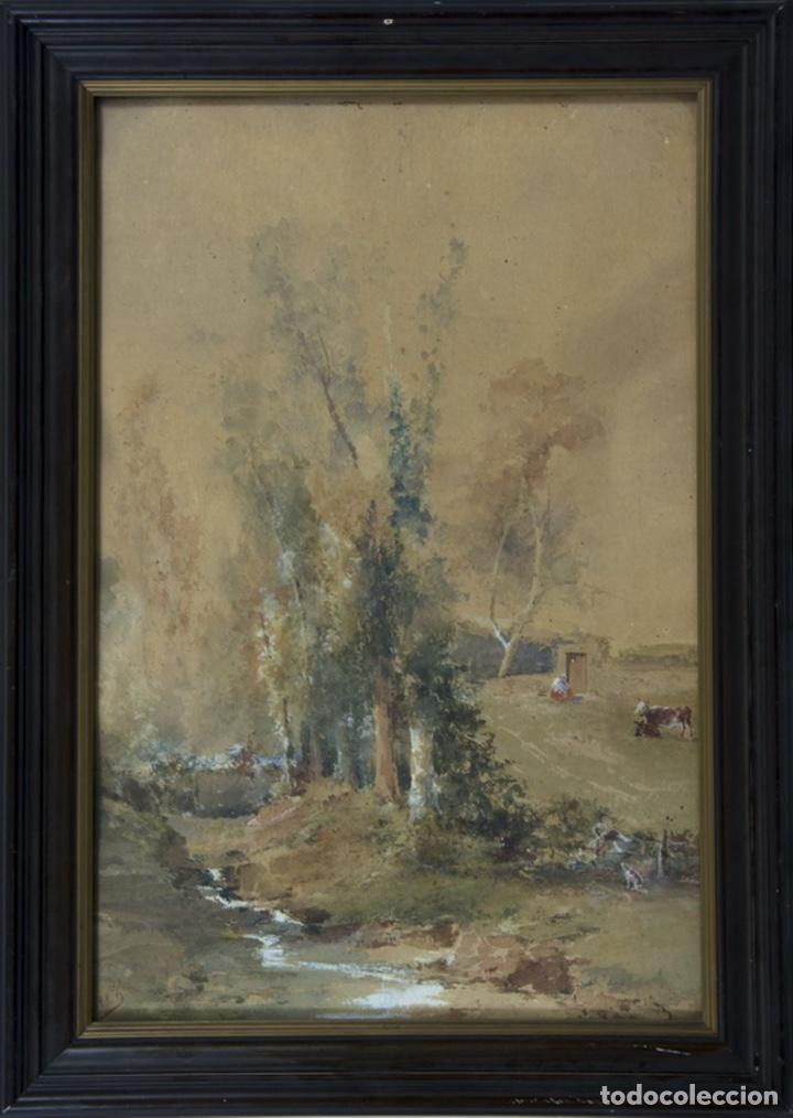 ACUARELA ORIGINAL DE FLÓREZ IBÁÑEZ (Arte - Acuarelas - Modernas siglo XIX)