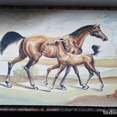 Arte: BONITA ACUARELA AGUADILLA DE CABALLOS FIRMADA.. Lote 221116227