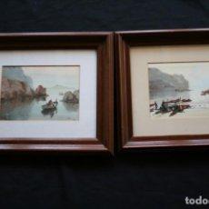 Arte: JOAN FUSTER GIMPERA (TORROELLA DE MONTGRÍ, 1917-2011) BONITO LOTE DE 2 ACUARELAS , MARINAS. Lote 221144746