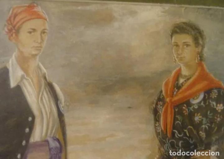 Arte: Año 1946. Acuarela firmada Chausa .Zaragoza.traje regional.aragon.pilar - Foto 3 - 221742640
