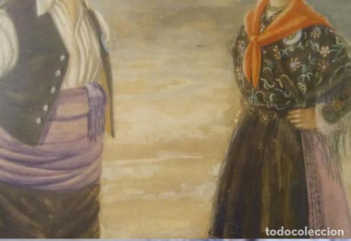 Arte: Año 1946. Acuarela firmada Chausa .Zaragoza.traje regional.aragon.pilar - Foto 5 - 221742640