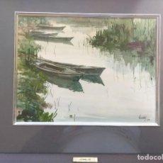 Arte: ACUARELA DE JOSÉ ESTELLÉS, BARCAS EN EL SALER. Lote 221847420