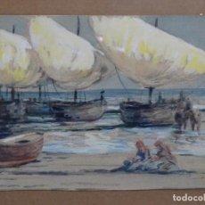 Arte: ACUARELA ANÓNIMA DE BUEN TRAZO.BARCAS.. Lote 221975975