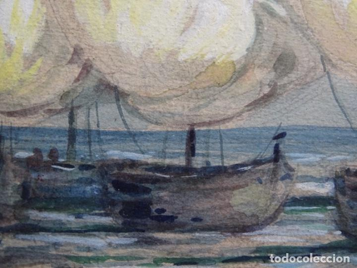 Arte: ACUARELA ANÓNIMA DE BUEN TRAZO.BARCAS. - Foto 6 - 221975975