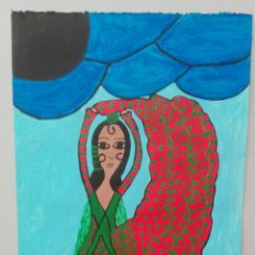 Arte: ACUARELA DE TEMA NAIF «BAILADORA» AUTORA MICAELA FLORES AMAYA «LA CHUNGA». Lote 222139988