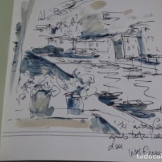 Arte: ACUARELA DE VIVES FIERRO EN LIBRO RETRATO Y AUTORETRATO DEDICADO POR AUTOR Y EL.1986.. Lote 222171532