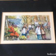 Arte: MANUEL ZAMORA MUÑOZ (1928-2006).RAMBLA DE LAS FLORES BARCELONA, ACUARELA SOBRE PAPEL.. Lote 222194525