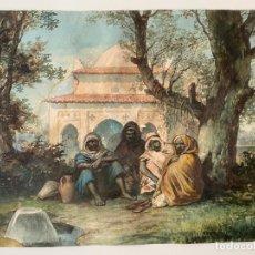 Arte: ACUARELA DE TEMA ARABE , OBRA A DOCUMENTAR , 1900 APROX. FIRMADA , ORIENTALISTA. Lote 222381256