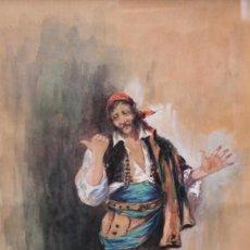 Arte: ESCUELA ESPAÑOLA DE FINALES DEL SIGLO XIX. ACUARELA DE UN BANDOLERO. FIRMA DESCONOCIDA. Lote 222412997