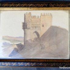 Arte: PUERTA DEL SOL -TOLEDO. ACUARELA DE 1866. Lote 222456215