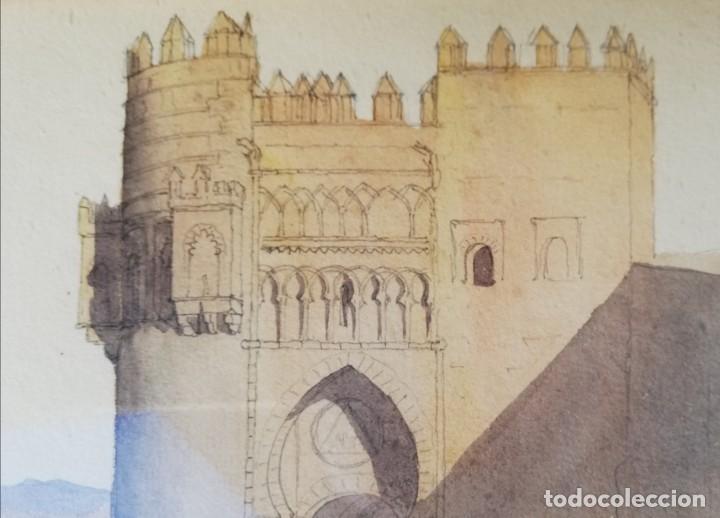 Arte: Puerta del Sol -Toledo. Acuarela de 1866 - Foto 2 - 222456215