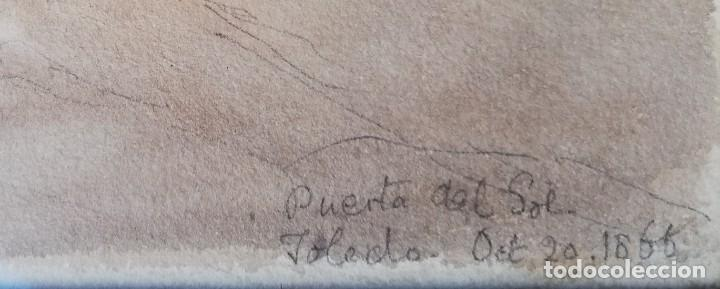 Arte: Puerta del Sol -Toledo. Acuarela de 1866 - Foto 3 - 222456215