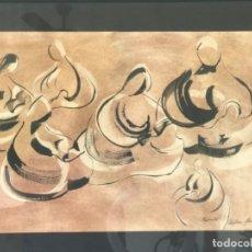 Arte: ACUARELA DE ARLENE SEREIX TITULADA LA MATERNIDAD.. Lote 222630265