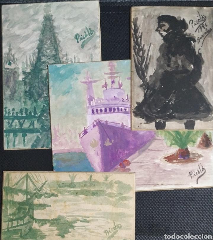 LOTE ACUARELAS 1986 PICOLOS (Arte - Acuarelas - Contemporáneas siglo XX)