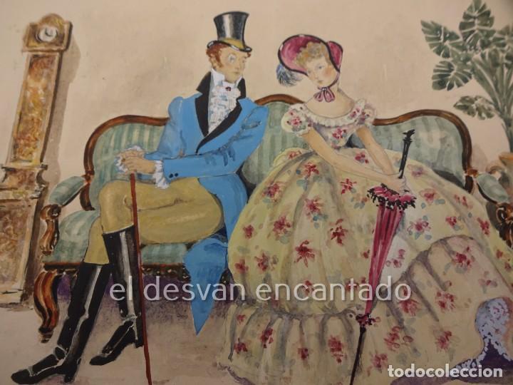 ESCENA GALANTE. DIBUJO ACUARELADO FIRMADO Mª ROSA (LLONGUERES)??. AÑO 1951. 250 X 180 MM (Arte - Acuarelas - Contemporáneas siglo XX)