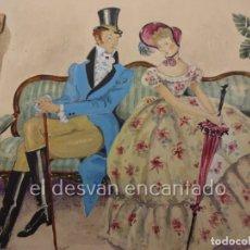 Arte: ESCENA GALANTE. DIBUJO ACUARELADO FIRMADO Mª ROSA (LLONGUERES)??. AÑO 1951. 250 X 180 MM. Lote 222778793