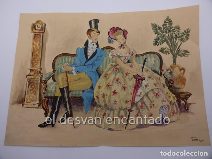 Arte: Escena galante. Dibujo acuarelado firmado Mª Rosa (Llongueres)??. Año 1951. 250 x 180 mm - Foto 2 - 222778793