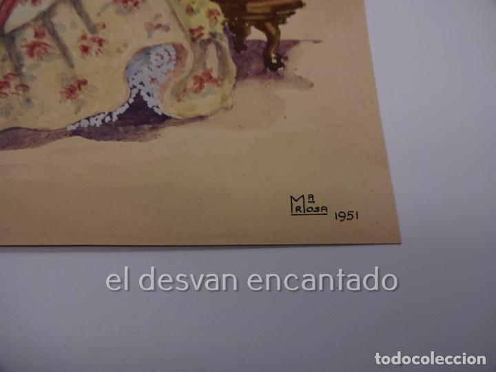 Arte: Escena galante. Dibujo acuarelado firmado Mª Rosa (Llongueres)??. Año 1951. 250 x 180 mm - Foto 3 - 222778793