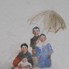 Arte: ANTIGUA ACUARELA ESCENA COSTUMBRISTA, S. XIX ~ OLD WATERCOLOR FOLK SCENE, 19TH C. Lote 222977305