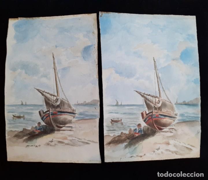 Arte: Antiguas Pinturas Españolas a Acuarela siglo XIX ~ Old Spanish Watercolor Paintings 19th c - Foto 2 - 26146781