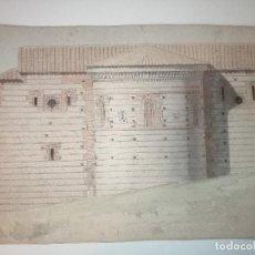 Arte: ABSIDE MUDEJAR DE SANTA URSULA EN TOLEDO. ALZADO , LÁPIZ, TINTA Y ACUARELA SOBRE PAPEL. CA 1880. Lote 223636277
