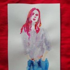 Arte: ACUARELA - MUJER VAQUEROS. Lote 223824463