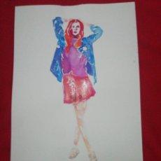 Arte: ACUARELA - MUJER CON FALDA ROJA. Lote 223825326