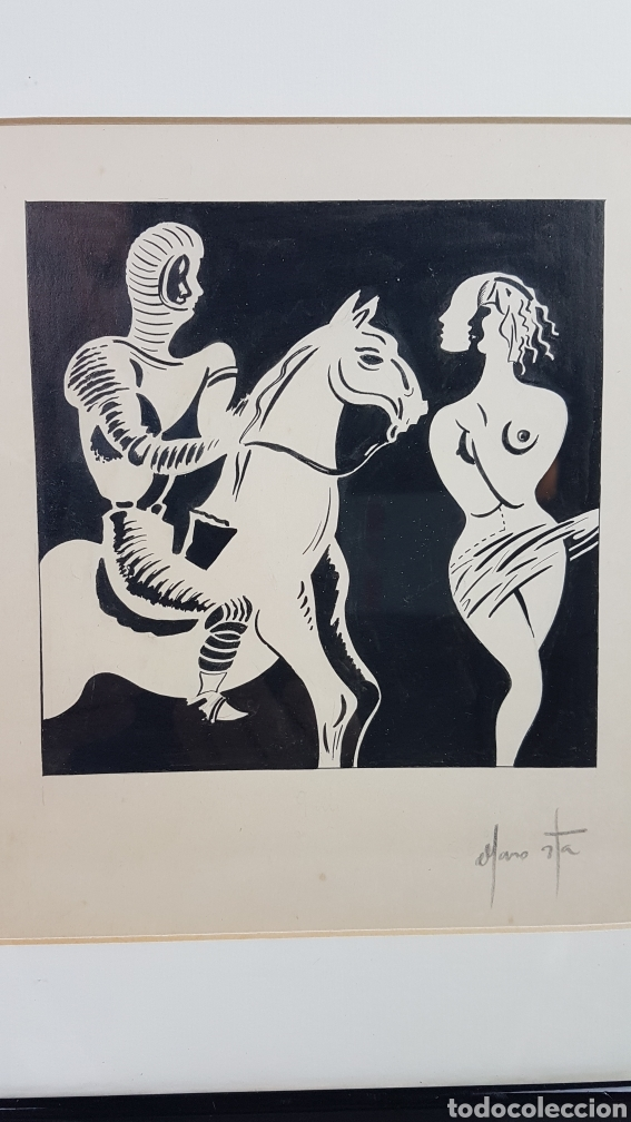 Arte: Tinta sobre papel de alto gramaje del Pintor gallego Alfonso Costa Beiro, Noia - A coruña - 1943. - Foto 4 - 223923961