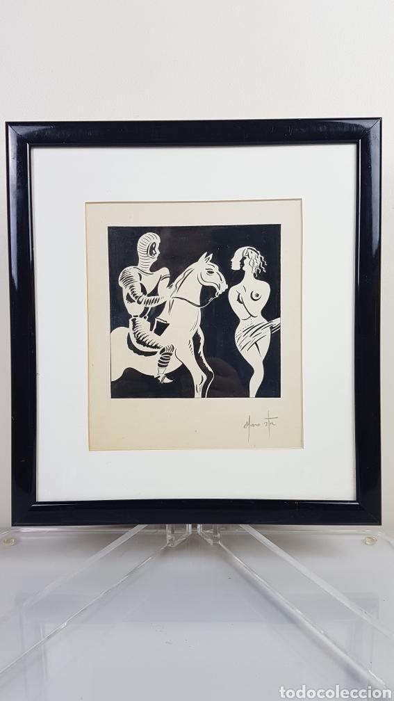 Arte: Tinta sobre papel de alto gramaje del Pintor gallego Alfonso Costa Beiro, Noia - A coruña - 1943. - Foto 5 - 223923961