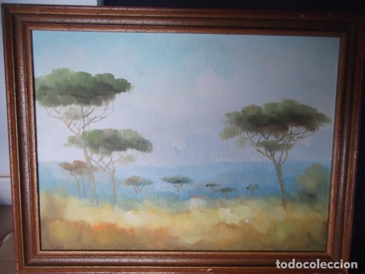 CUADRO PINTURA SOBRE TABLA FIRMADA (Arte - Acuarelas - Contemporáneas siglo XX)