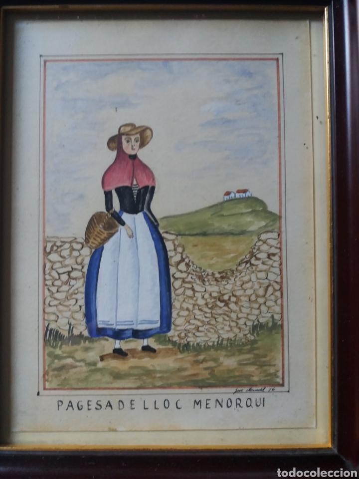Arte: acuarela original payesa menorquina traje regional menorca baleares jose mercadal 76 campesina rural - Foto 2 - 224038398