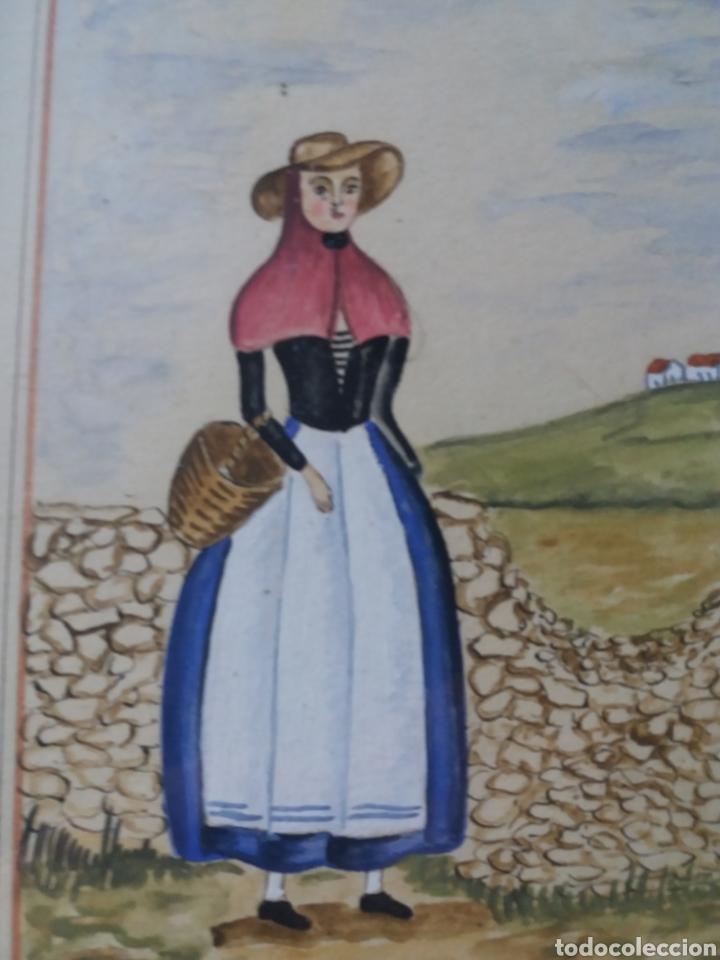 Arte: acuarela original payesa menorquina traje regional menorca baleares jose mercadal 76 campesina rural - Foto 3 - 224038398