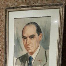 Arte: PEDRO VILARROIG APARICI, RETRATO EN ACUARELA, ORIGINAL, FIRMADO, DE 1956, 52X42 CM.. Lote 224517988