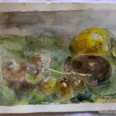 Arte: BODEGÓN CON FRUTAS DEL PINTOR Y ACUARELISTA CATALÁN JOAN FORT GALCERÁN(BCN 1902-¿?). Lote 224885235
