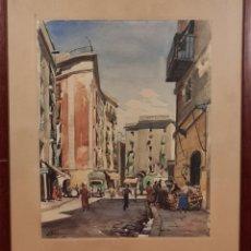 Arte: VISTA DE CALLE. ACUARELA SOBRE PAPEL. FIRMADO LLOVERAS. 1941.. Lote 224981232