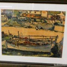 Arte: MATEU LLOBERA MARINA CON BARCA. Lote 225242935