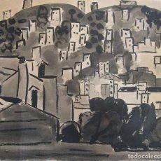 Arte: CARME AGUADÉ I CORTÉS. VISTA CON EDIFICACIONES. 1957. TINTA Y AGUADA. FIRMADA Y FECHADA. 42 X 49 CM. Lote 225266405